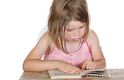 Cute Young Child Reading her Book