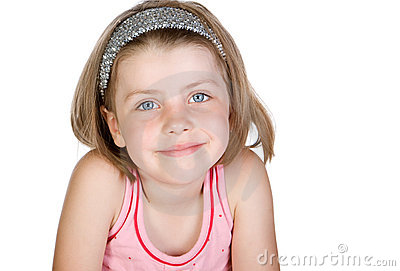 Cute Blonde Child against White Background