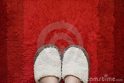 Feet in slippers