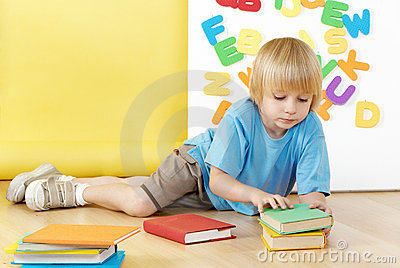 The little boy with books