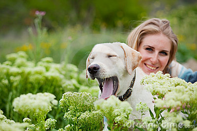 Girl with labrador