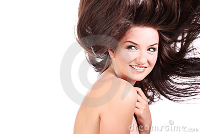 Beautiful woman with blowing hair
