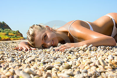 Sexual young girl Relaxing on a beach