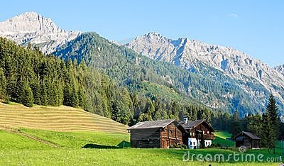 Alpine landscape of mountains and meadows