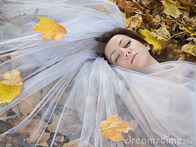 Bride on leaves