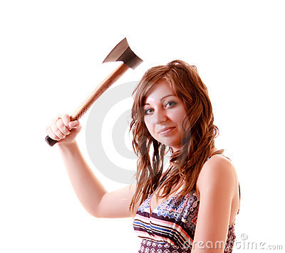 Young woman with axe isolated