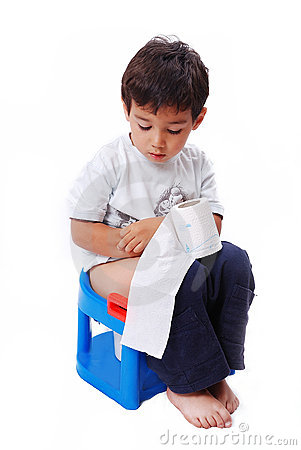 Cute kid with toilet paper on toilet