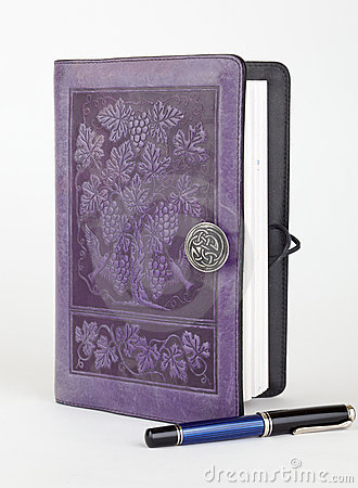 Purple leather bound writing journal and pen