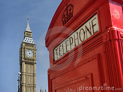 Red telephone box with Big Ben, London