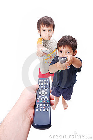 Remote control in hands