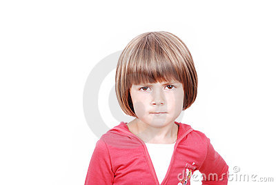 Portait of beautiful serious little girl