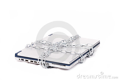 Personal computer tied by chain