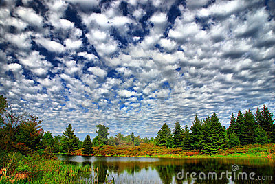 Patchwork Sky Over Country Pond