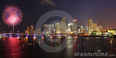 July 4th fireworks, downtown, Miami