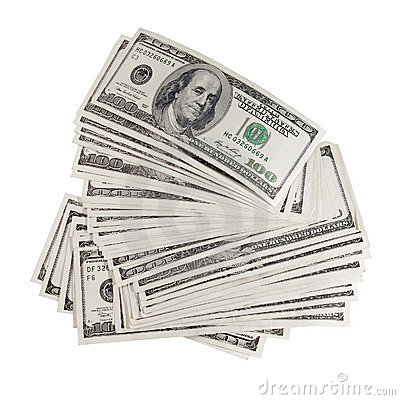Stack of dollars.