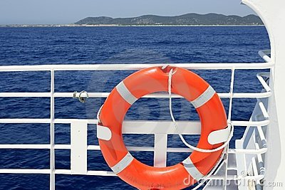 Cruise white boat handrail detail in blue sea