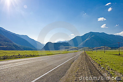 Road in mountains valley, Altai, Summer