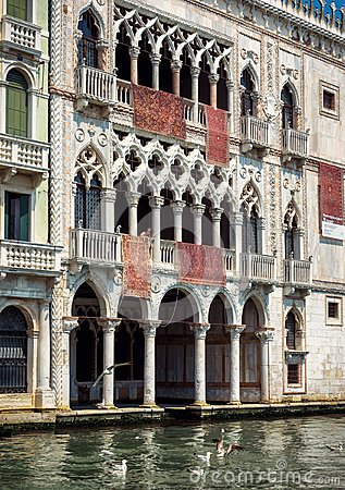 Ca` d`Oro palace on the Grand Canal in Venice