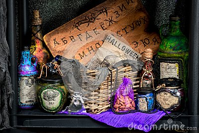 Potions with a potion and props for fortune telling