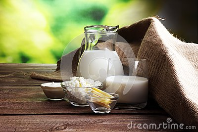 milk products. tasty healthy dairy products on a table.