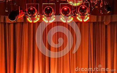 Stage lights and curtain