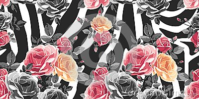 Roses seamless pattern on zebra background. Animal abstract print.