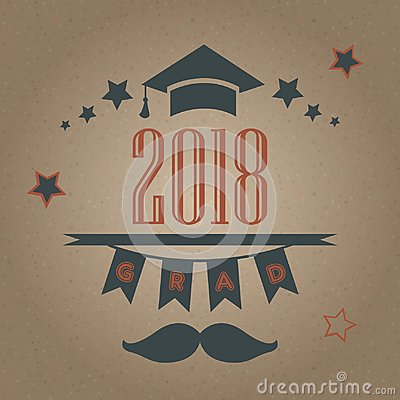 Grad of Class 2018 with mustache, graduation cap and stars. Retr
