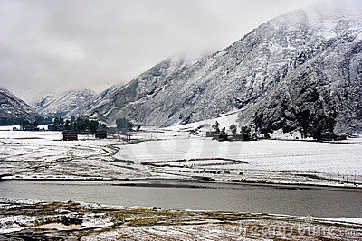 Snow view of tibetan village at Shangri-la China