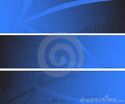 Three abstarct blue web banners