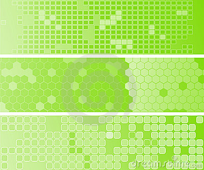 Three abstact green web banners