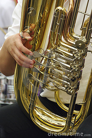 Tuba player - detail