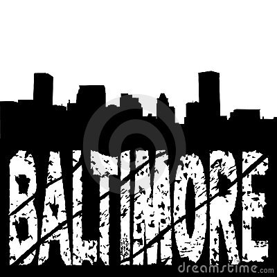 Baltimore skyline with grunge text
