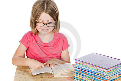 Cute Girl Reading her Books