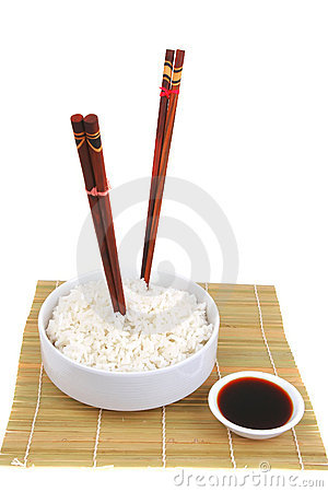 China rice on traditional bamboo mat