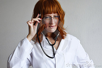Female doctor listen to her thoughts