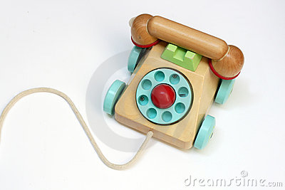 Wooden toy telephone
