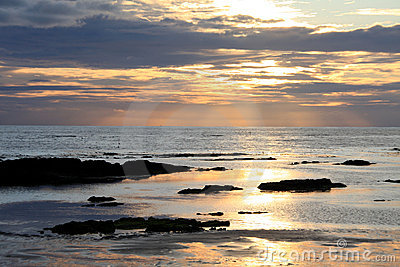 Sunset reflected in the sea
