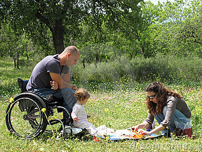 Handicapped Dad and Family