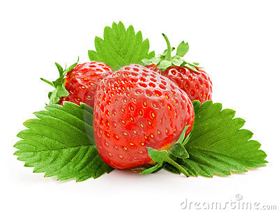 Red strawberry fruits with green leaves