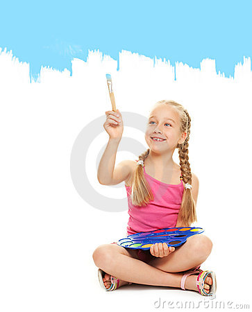 Little girl painting with blue paint