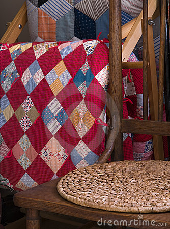 Antique Chair And Quilts
