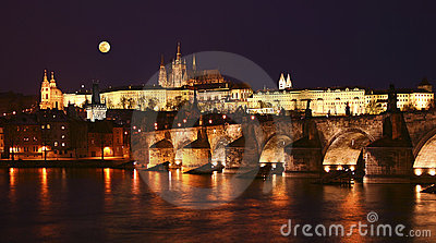 Prague, Charles Bridge at night