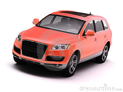 Red isolated comfortable SUV