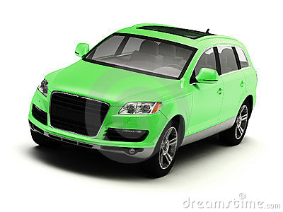 Green isolated comfortable SUV