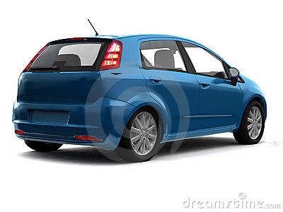 Hatchback blue car back view