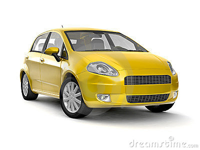 Compact new yellow car