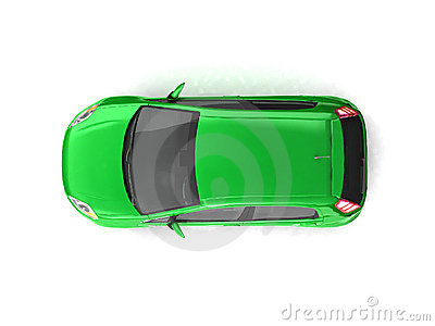 Hatchback green car top view