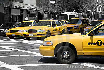 Yellow cabs in a monochrome world