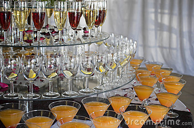 Stacked Colorful Drinks at a Function (Cropped)