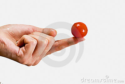 Small tomato on a female fingers